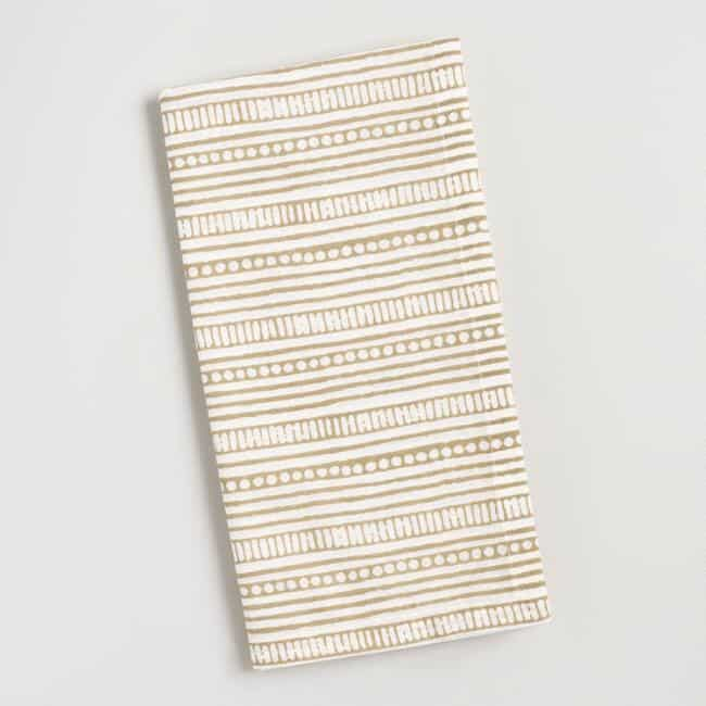 Taupe Dot Stripe cloth Napkins, boho tablescape