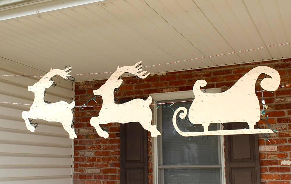Outdoor Christmas Decorations- Santa-Reindeer-Sleigh-justmeasuringup